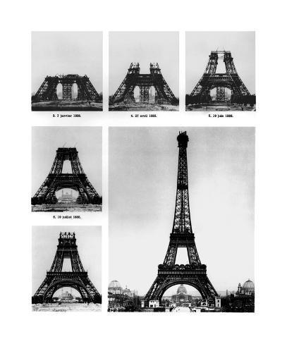 Construction On The Eiffel Tower Premium Giclee Print