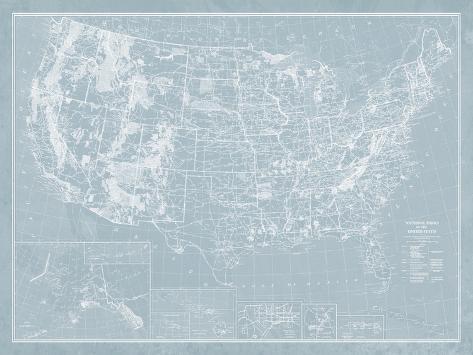 Explorer - USA Map Giclee Print