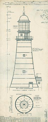 Lighthouse plans ii prints by the vintage collection for Lighthouse blueprints plans