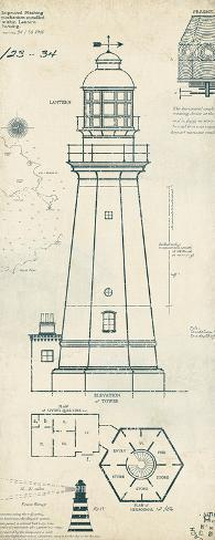 Lighthouse plans iv prints by the vintage collection for Lighthouse blueprints plans