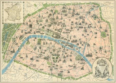 Vintage Paris Map Posters by The Vintage Collection at AllPosters.com