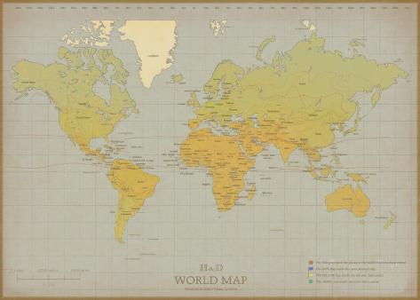 Vintage world map posters by the vintage collection allposters vintage world map gumiabroncs Images