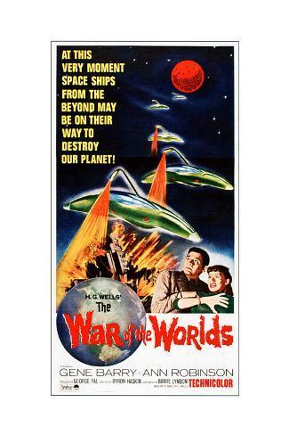 The War of the Worlds, Bottom from Left: Gene Barry, Ann Robinson on 1965 Poster Art, 1953 Lámina giclée