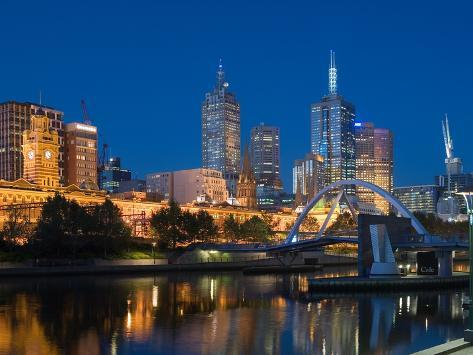 The Yarra River and Melbourne Skyline Stretched Canvas Print