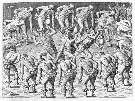 Tupinamba Indians Observed by Hans Staden During Voyage to Brazil Lámina giclée