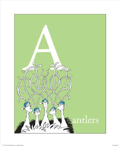 A is for Antlers (green) Art Print