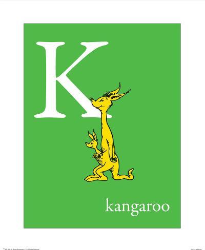 K is for Kangaroo (green) Art Print
