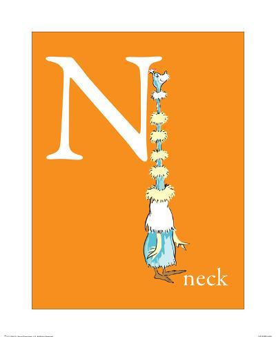 N is for Neck (orange) Art Print