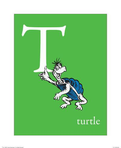 T is for Turtle (green) Art Print