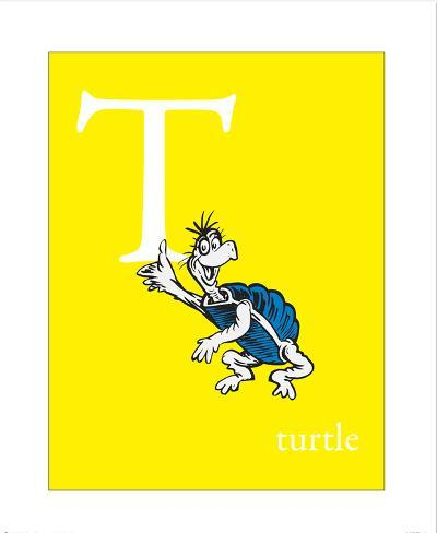 T Is For Turtle Yellow Prints By Theodor Dr Seuss