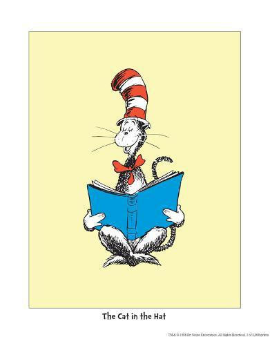 The Cat in the Hat (on yellow) Art Print