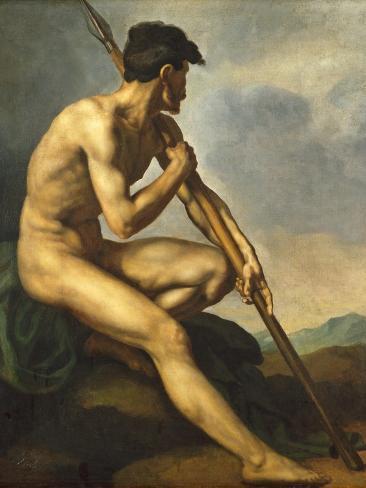 Nude Warrior with a Spear, C.1816 Lámina giclée