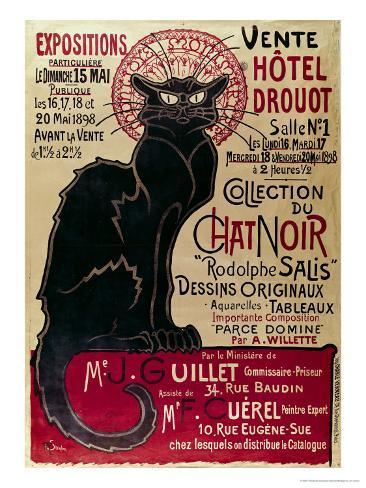 Affisch med reklam för en utställning av Collection Du Chat Noir Cabaret på Hotel Drouot, Paris Gicléetryck