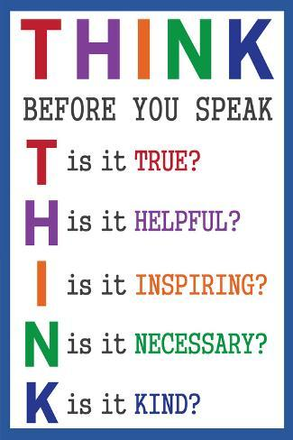 Think before You Speak Póster