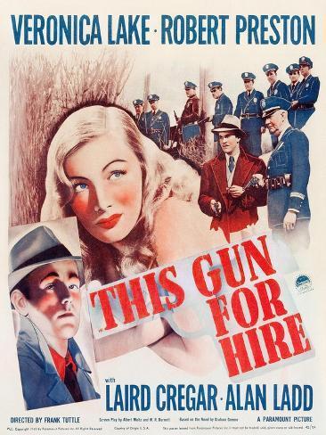 This Gun for Hire, Alan Ladd, Veronica Lake, Robert Preston on window card, 1942 Konstprint