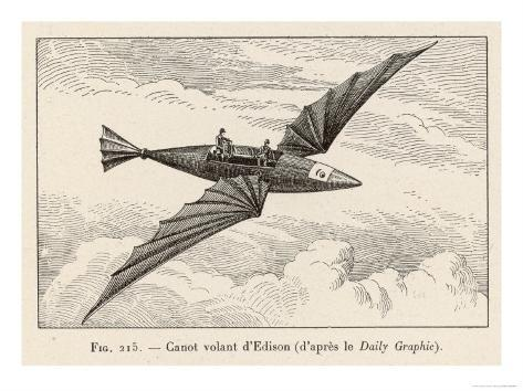 Thomas Alva Edison's Flying Canoe the Smaller of His Two Projected Flying Machines Giclee Print