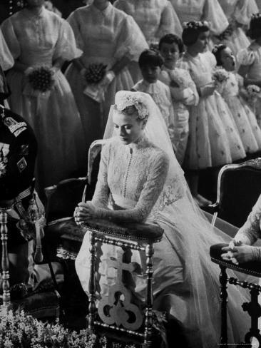 Actress Grace Kelly in Gorgeous Wedding Gown Praying During Her Wedding to Prince Rainier Premium Photographic Print