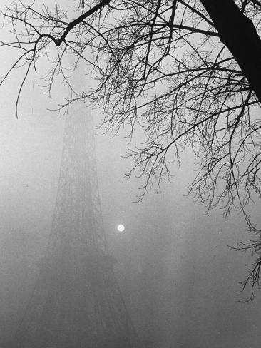 Paris Fog with Eiffel Tower Faintly Seen Photographic Print