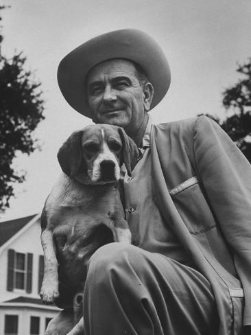 Senator Lyndon B. Johnson with Pet Called Little Beagle Jr. on His Ranch Photographic Print
