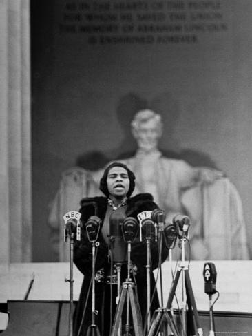 Singer Marian Anderson Giving an Easter Concert at the Lincoln Memorial Premium Photographic Print