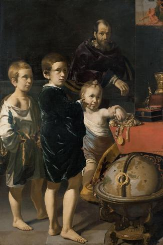 Portrait of Three Children and a Man Art Print