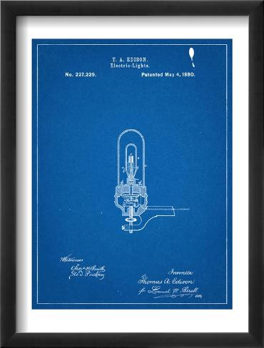 Thomas Edison Light Bulb Patent Framed Art Print