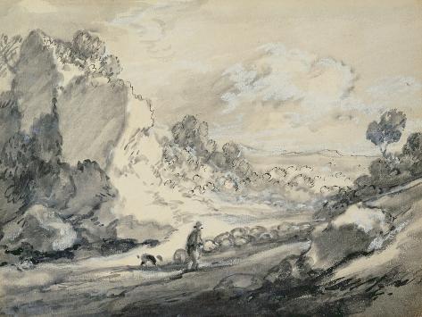 A Shepherd and His Flock, 1775 Lámina giclée