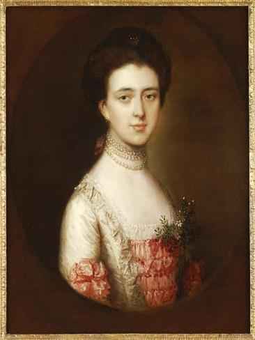 Portrait of a Lady, Bust Length, in a Pink and White Dress Trimmed with Lace and a Pearl Necklace Giclee Print