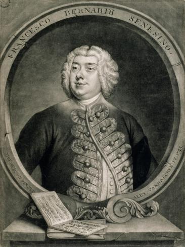 Francesco Bernardi Senesino, Engraved by Alexander Van Haecken (1701-58), 1735 Impressão giclée