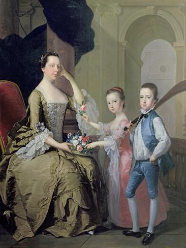 Mrs Matthew Mitchell and Her Children, Matthew and Anne, 1757-58 Lámina giclée