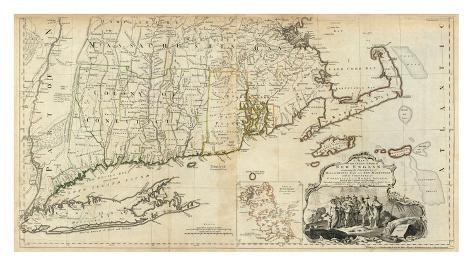 The Provinces of Massachusetts Bay and New Hampshire, Southern, c.1776 Framed Giclee Print