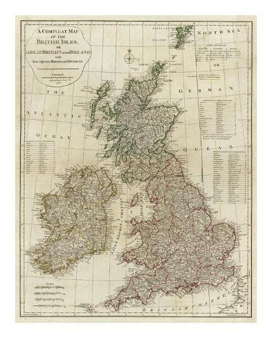 A Complete Map of the British Isles, c.1788 Art Print