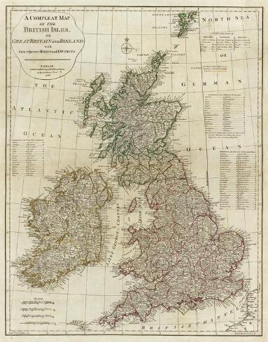 A Complete Map of the British Isles, c.1788 Stretched Canvas Print