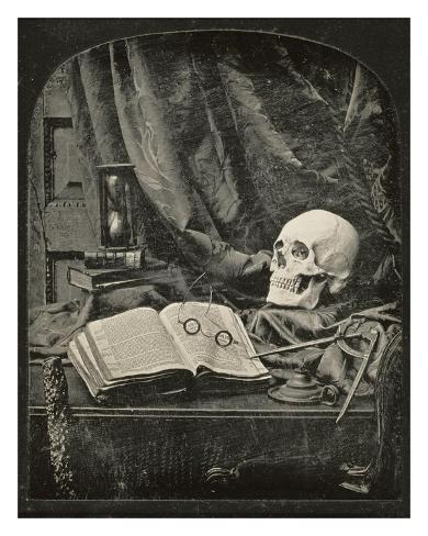 Still Life with Skull, Open Book with Glasses, and Hourglass Art Print