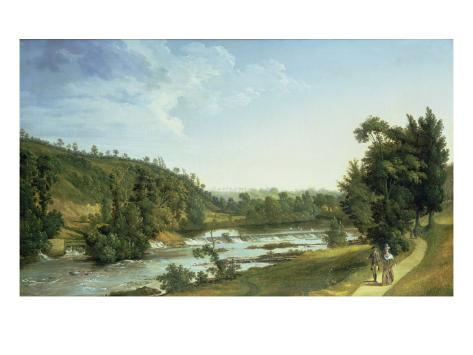 Demesne Weir Near Lucan Stretched Canvas Print