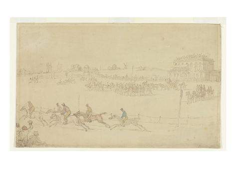 A Race of the Knavesmire at York (Pen and Ink with W/C on Paper) Giclee Print