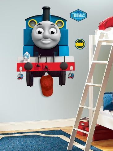 Thomas the Tank Engine Peel & Stick Giant Wall Decal with Hooks Wall Decal