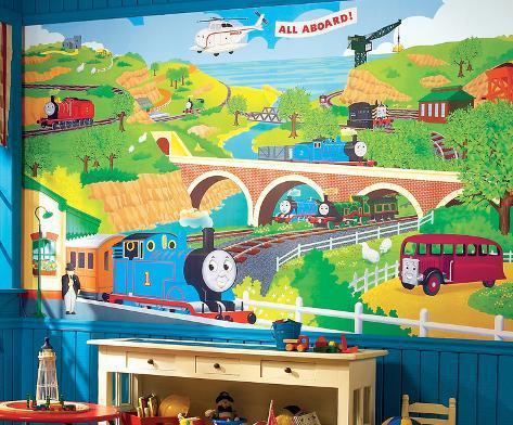 Thomas the Train Chair Rail Prepasted Mural Wallpaper Mural