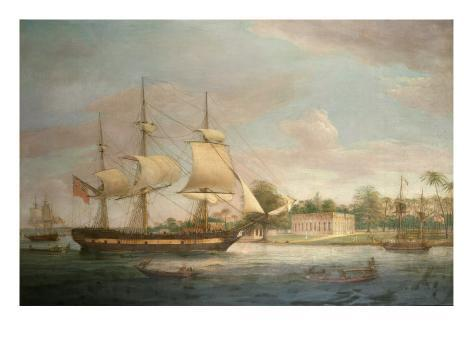 A Country Ship on the Hoogly Near Calcutta Giclee Print