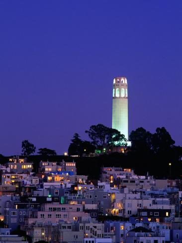 Coit Tower, Telegraph Hill at Dusk, San Francisco, U.S.A. Photographic Print
