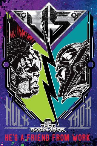 オールポスターズの thor ragnarok hulk vs thor ポスター