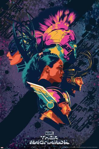 Thor: Ragnarok - Thor, Hulk, Valkyrie, Loki, Hela Art Print