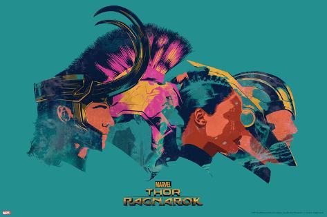 Thor: Ragnarok - Thor, Hulk, Valkyrie, Loki Art Print