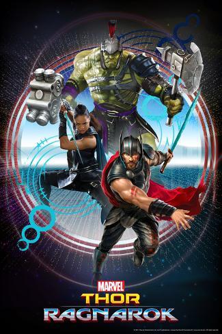 Thor: Ragnarok - Thor, Hulk, Valkyrie Stretched Canvas Print