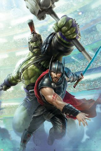 Thor: Ragnarok - Thor, Hulk Stretched Canvas Print
