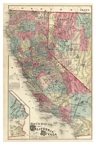 Map of the States of California and Nevada, c.1877 Framed Giclee Print