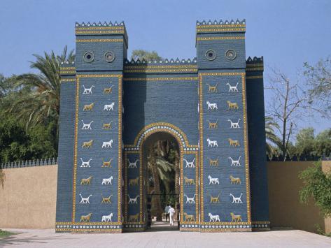 reconstruction of the ishtar gate entrance to babylon mesopotamia