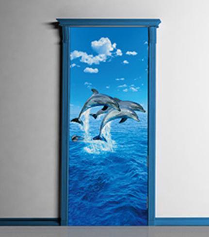 Three dolphins door wallpaper mural bildtapet p for Door wallpaper mural