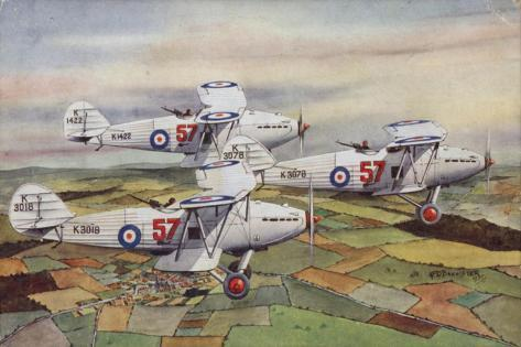 Three Hawker Hart Light Bombers of the Raf's 57 Squadron Flying in Formation, 1935 Stampa giclée