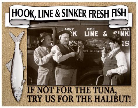 Three Stooges Fresh Fish Tin Sign